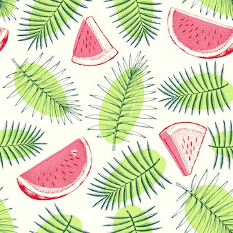 Watermelon and tropical leaves seamless pattern.