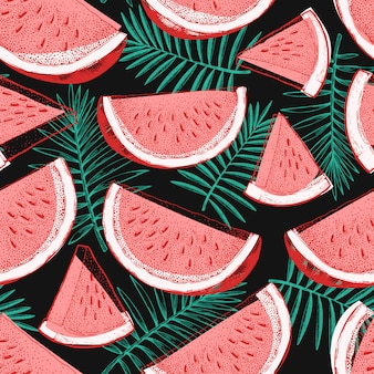 Watermelon and tropical leaves seamless pattern
