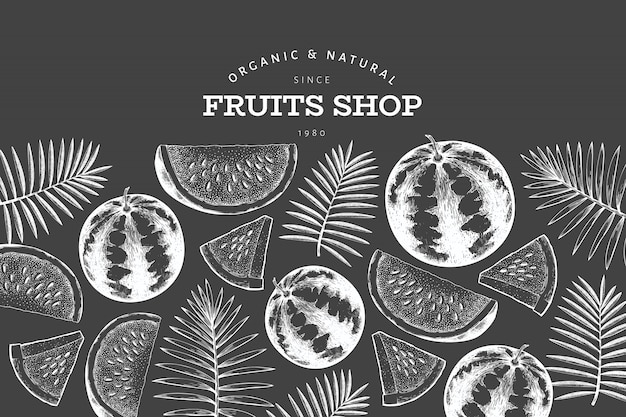 Watermelon and tropical leaves  template. hand drawn  exotic fruit illustration on chalk board. engraved style fruit frame. retro botanical banner.