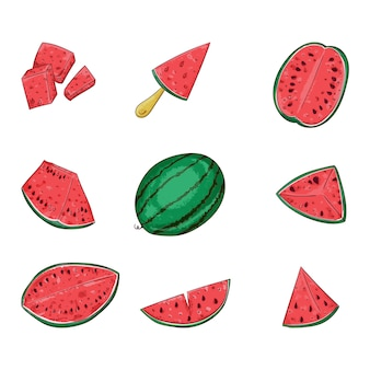 Watermelon whole and sliced set.
