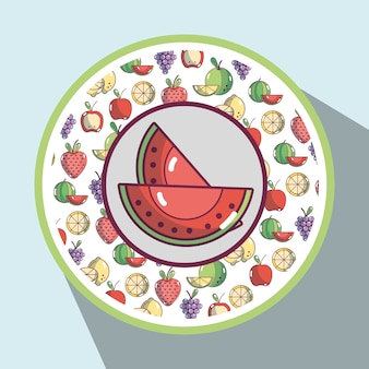 Watermelon with fresh fruits background design