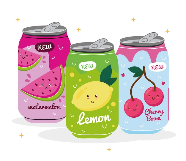 Watermelon with lemon and cherries kawaii juices fruits characters in cans products