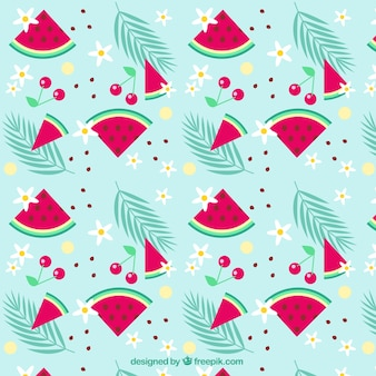 Watermelons and cherries pattern