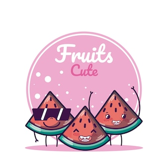 Watermelons cute fruits cartoons