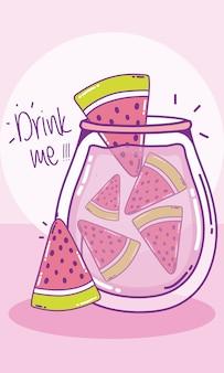 Watermelons juice in mason jar drawings