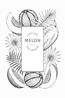수박, 멜론 및 열대 잎 템플릿. 손으로 그린 이국적인 과일 그림. 새겨진 스타일 과일 프레임. 빈티지 식물 배너.