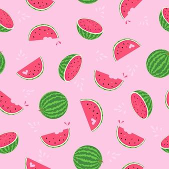 수 박 핑크 플랫 원활한 패턴