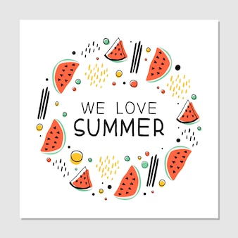 Watermelons slices, geometric figures, abstract lines and dots cliparts. we love summer hand drawn hipster multicolor illustration with handwritten lettering.