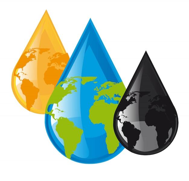 Вода и топливные капли с планетой на белом фоне ve
