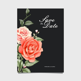 Waterolor floral save the date invitation card