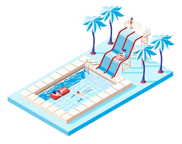 Waterpark isometric concept with water slides and swimming pool illustration