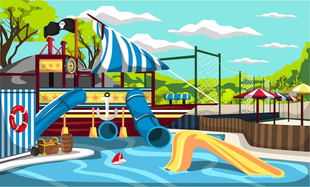Waterpark kiddie pirate ship pool splash mountain with tunnels and slides