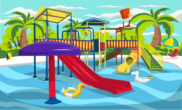 Waterpark resort for kids and family with slides and tunnels, unicorn swimming ring float pool