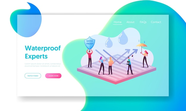 Waterproof clothes landing page template. tiny characters stand on huge water proof coating with umbrella and falling rain drops