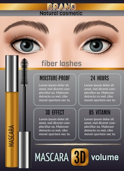 Waterproof mascara design illustration