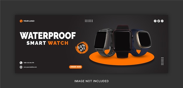 Waterproof smart watch collection social media post facebook cover template
