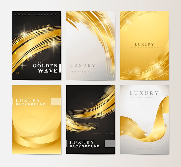 Wave abstract background set vectors