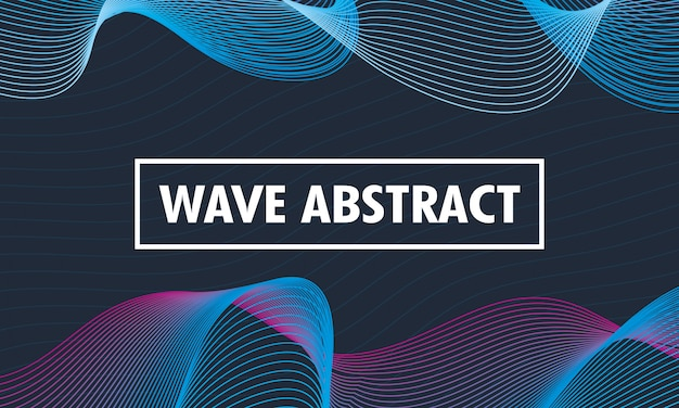 Wave abstract lettering in blue background