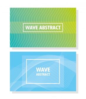 色の背景のレタリングと正方形のフレームと抽象的な波