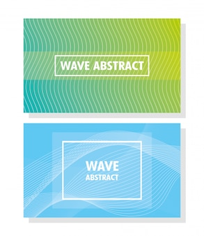 Wave abstract with lettering and squares frames in colors backgrounds