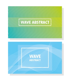 Wave abstract with lettering in white background