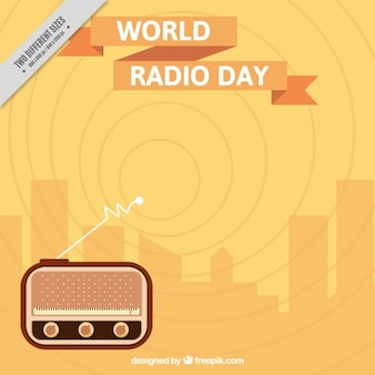 Wave background of the global radio day in flat design