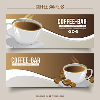 Wave banners with cup of coffee