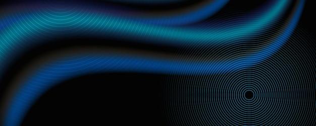 縞模様の線と波の青い背景。輝く流体の波線。