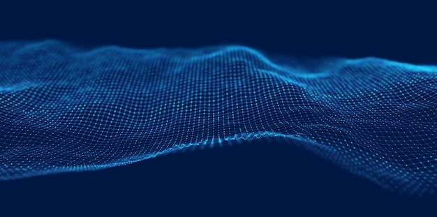 Wave of blue particles abstract technology flow background sound mesh pattern or grid landscape