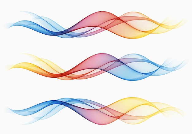 Wave colored set abstract transparent flow colorful wave