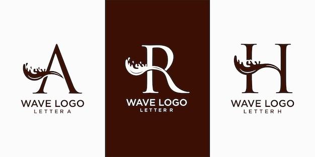 Волна сочетание буквы ar и h значок набор векторных логотипов