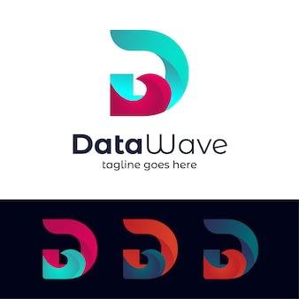 Шаблон логотипа письмо wave d