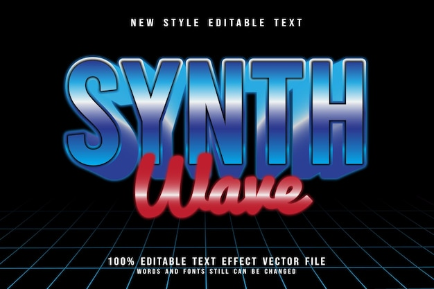 Wave editable text effect emboss retro style