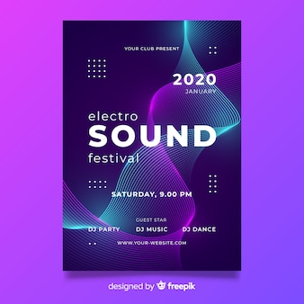 Wave electronic music abstract poster template