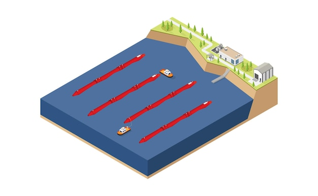 Wave energy wave power plant in isometric style