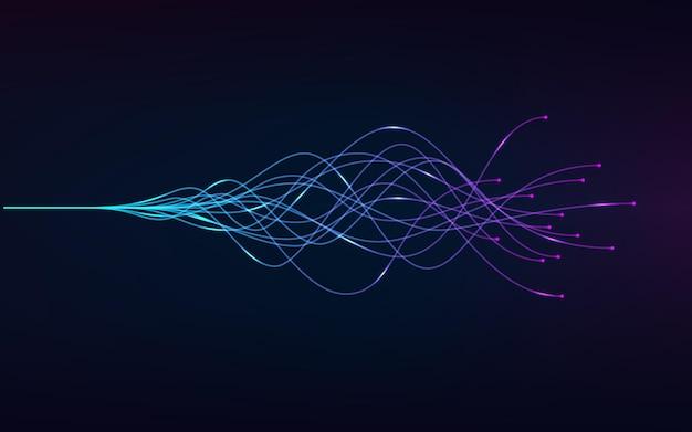 웨이브 이퀄라이저. 파란색과 보라색 선.