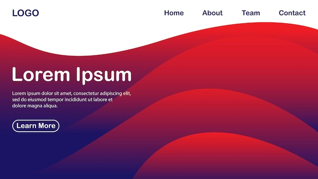 Wave and fluid gradient landing page template