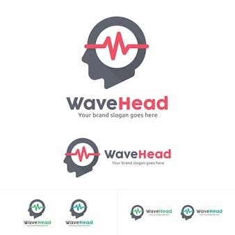 Wave head music studio logo, music instrument logo, head phone logo