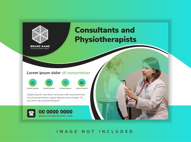 Wave horizontal flyer template design with headline consultants and physiotherapists horizontal