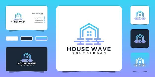 Вдохновение для дизайна логотипа wave house и визитная карточка