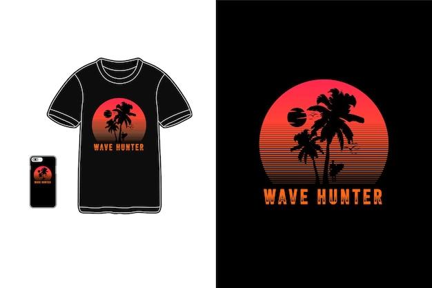 Wave hunter tshirt merchandise silhouette mockup