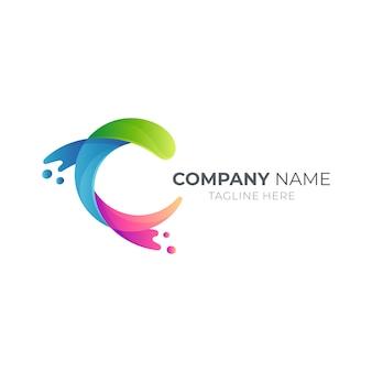 Wave letter c logo concept