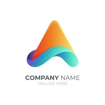 Wave letter a logo concept template