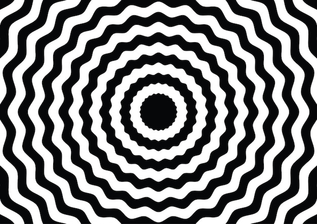 Wave line circle black and white optical illusion