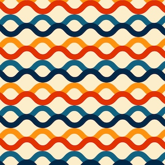 Wave lines seamless pattern retro color