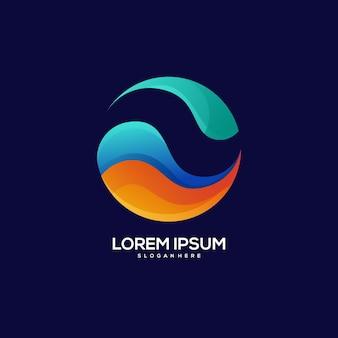 Wave logo colorful gradient illustration