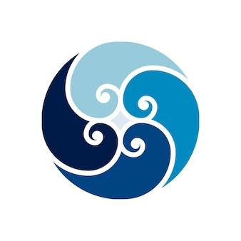 Wave logo vector round aqua swirl logotype symbol