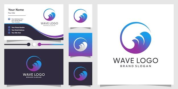 Волна логотип с креативной концепцией градиента и дизайном визитной карточки premium векторы