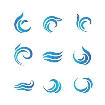 Wave logos. blue water waves with splashes