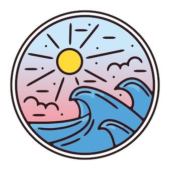Wave monoline vintage outdoor badge design